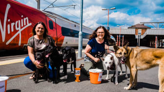 Adrienne Nankivell (left) and Clare Hughes (right) from Virgin Trains with dogs Mikey, Merlin, Sky, Ziggy and Zara at Stockport Station.