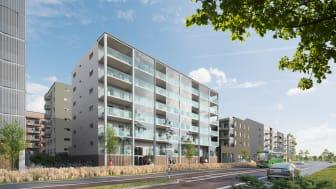 HP Boendeutveckling och Ulricehamns Betongs nya bostäder i den nya bostadsrättsföreningen Äppelgården blir granne med Helsingborgshems kontor och ligger intill det nya p-huset Drottningen. Visionsskiss: HP Boendeutveckling.