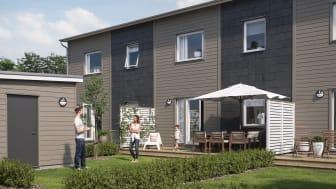 Illustration av trädgårdssida med altan & gräsmatta, BoKlok Bangården i Kävlinge