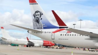 Norwegian's Tom Crean tail on the Boeing 737-8 MAX at Dublin Airport