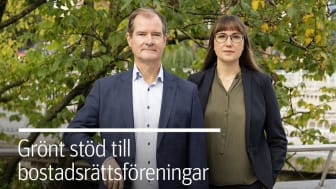 Mårten Lilja, vice vd Riksbyggen och Johanna Ode bostadspolitisk expert på Riksbyggen.