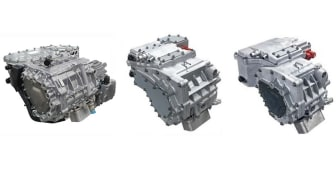 From left: Nidec's 150 kW E-Axle announced in April 2018, the new 100 kW and 70 kW models.