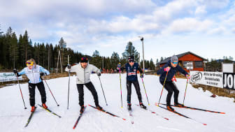 Norges raskeste - Ludvig Søgnen Jensen (andre fra venstre), er blant de ca. 100 deltagerne som står på start under World Sprint Series i Trysil. Foto: Jonas Sjögren