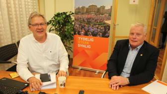 Generalsekretær Harald Olimb Norman (t.v) og forbundsleder Jan Davidsen i Pensjonistforbundet.