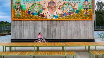 Urban park, Fittja. Långbordet, i samarbete med White Arkitekter. KONSTKUBEN av Fittjabor. Konstnärlig ledare Saadia Hussain, Botkyrkabyggen 2015-2020.