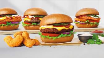 Fyra varianter av BBQ Ranch och side order Mac 'n' Cheese
