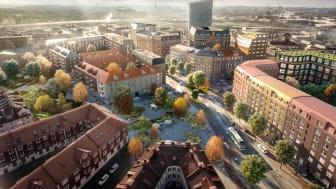 Visionsbild över Gamlestads torg i framtiden. Illustration: White arkitekter