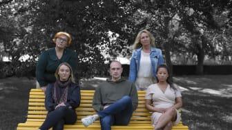 Ambassadörer sittandes från vänster: Fanny, Joakim och Rebecca. Ambassadörer stående från vänster: Åsa och Annette. Ambassadören Ulrike saknas på bilden.