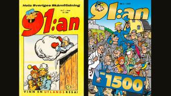 Från vänster: Omslag till 91:an nr 1, 1956. Från höger: Omslag till 91:an nr 1500, 2021.