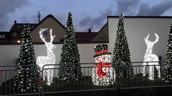 Vinterlandskap lyser upp på Unionstorget, Kävlinge. Foto: Kävlinge kommun