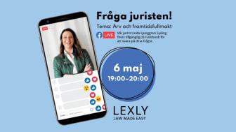 Live på Facebook, ställ alla dina frågor kring arv och framtidsfullmakt till Linda Ljunggren Syding från Lexly