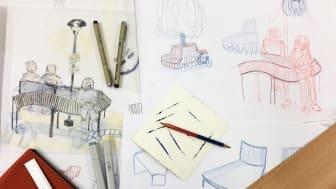 Skissmaterial Anton Kreü, student Malmstens. Projekt pop up i samarbete med Nola.