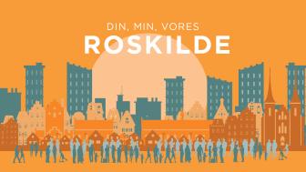 I en ny serie af arrangementer under overskriften 'Din, min, vores Roskilde' inviterer Roskilde Museum til dialog om udviklingen af byen. Første arrangement 'Den levende by' er 5. februar. Illustration: Trine Sejthen /ROMU