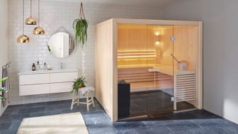 Sauna room with aspen interior and Sense Sport heater