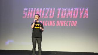 Shimizu Tomoya (Managing Director Epson Indonesia) memberikan sambutan pada acara Epson Projector Solution Showcase