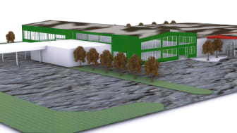 The planned design for the new expansion at the Camfil Tech Centre in Trosa, Sweden