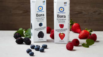 """""""Bara"""" Drickyoghurt frukt och bär erbjuds i 330 ml förpackning i två omtyckta smaker – Jordgubb & Hallon och Blåbär & Björnbär."""