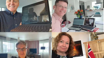 Telenor's leadership opened 5G in Norway via video conference. From top left: Sigve Brekke, Petter-Børre Furberg, Bjørn Amundsen, Ingeborg Øfsthus