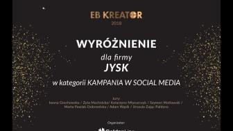 JYSK Polska wyróżniony w konkursie EB Kreator