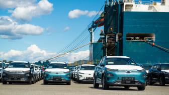 De første KONA electric på Drammen Havn. Foto: Hyundai Motor Norway