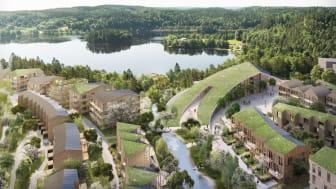 Trästaden Wendelstrand med cirka 1000 bostäder som Next Step Group ska utveckla vid Landvettersjön utanför Mölnlycke.