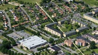 Konstverket Marmorlinjen förbinder Gamlegården och Näsby.