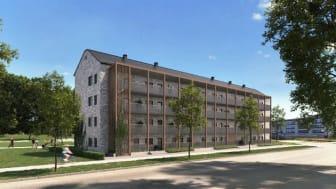 Det första fullskaliga SilviaBo-projektet i Sverige blir färdigställt till H22 City Expo sommaren 2022. Bild: BoKlok