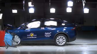 The Tesla Model X in Euro NCAP's offset deformable barrier test