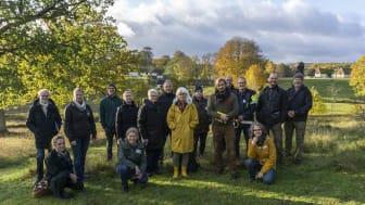 Nationella Biosfärkommittén på besök i Vombsjösänkan tillsammans med värdorganisationer och föredragshållare den 23 oktober 2020.