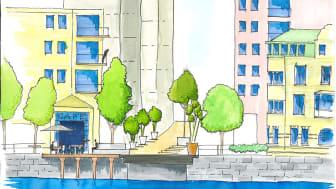 Framtidens Viskaholmsbro? Illustration av Richard Mattsson, stadsarkitekt.