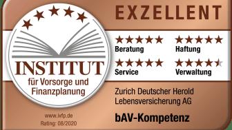 """Die Zurich Versicherung wurde zum dritten Mal in Folge mit der Bestnote """"Exzellent"""" bewertet."""
