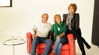 Dieter Hermann, Uschi Glas und Stiftungsvorstand Dr. Christa Maar beim Shooting in den Eisbach Studios