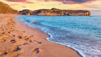 Solnedgang over en af Tyrkiets berømte strande - Patara