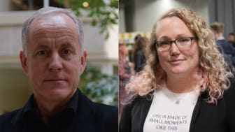 Camilla Askebäck Diaz, lärare på Södermalmsskolan i Stockholm och Guldäpplepristagare 2019 och Åke Grönlund, professor Örebro universitet och medlem i Guldäpplets jury.