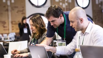 Developing new digital solutions: Panalpina employees participated in a hackathon in Berlin earlier this year. (Photo by Bosch / Offenblende)