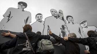Manifestation för fängslade människorättsförsvarare i Turkiet