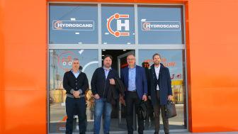 Fr.v. Roin Gigiberia (VD Hydroscand Georgien), Arne Kukin (VD Hydroscand Armenien), Kalle Solba, (global etableringschef på Hydroscand Group) och Patrik Tidebrant (Chief Business Development Officer på Hydroscand Group)