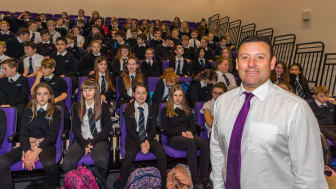 Head teacher Hugh McCulloch with S1 pupils