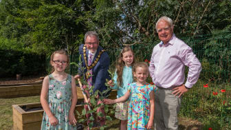 Mayor of Mid & East Antrim Borough Council, Cllr William McCaughey, with The McClintock sisters and Lexie Scott, Chairman of the Broughshane and District Community Association.
