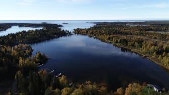 Flador är grunda havsvikar som med landhöjningen blir avsnörda från havet. Flador är viktiga reproduktionsområden för varmvattenfiskar men många är också kraftigt påverkade av människan. Bild: Anniina Saarinen/Länsstyrelsen Västerbotten