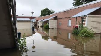 Risken för översvämningar ökar på grund av klimatförändringarna, enligt forskningen. Gävle drabbades av översvämningar till följd av regnovädret förra veckan. Bilden togs i ett bostadsområde i Gävle veckan som gick. FOTO: Högskolan i Gävle
