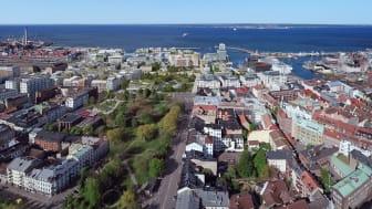 Framtidens Helsingborg C - med planerad bebyggelse, flygvy mot väster
