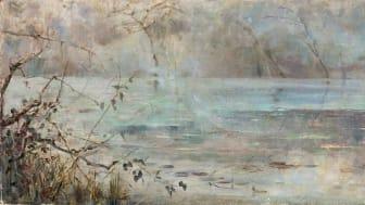 Julia Beck, Damm med näckrosor sol och dimslöjor, olja på duk. Odaterad. 40.3 x 124.5 cm. Privat ägo.