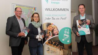 Freuen sich auf das Konzert (v. l.): Frank Wohlgemuth, Kommunalreferent WWN, Evelyn Hotze, Stabstelle für Wirtschaftsförderung und Tourismus, und Bürgermeister Dieter Blume.