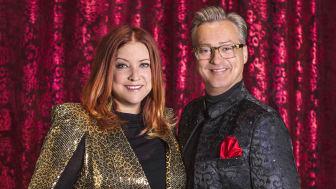 Shirley Clamp och Tony Irving tillsammans i en Amercan Christmas Show i december på Casino Cosmopol i Stockholm, tillsammans med Malin och David Watson.