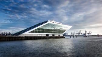 Futuristic building in the Port of Hamburg, Germany.