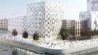 Assemblin står för installationer inom el och VS när kontorshuset Prisma i Helsingborgs nya stadsdel Oceanhamnen växer fram. Illustration: Wihlborgs