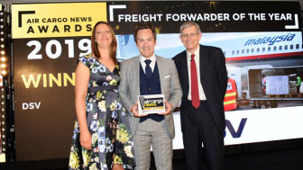 The award was presented to Andreas Frandsen, General Manager - Business Change Management, DSV Air & Sea, by Sarah Nash, UK Country Manager of award sponsor AIA Cargo, during a gala dinner at the Runnymede Hotel in Windsor, UK.
