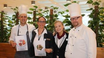Fra venstre: Paul, Lise, Ida og Øyvind jobber tett med Matvett og gårdeier NHO Eiendom for å redusere matsvinn, ikke bare i Eurests kantine, men i hele NHO-bygget.