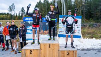 Klæbo på førsteplass, Aune på andreplass og Skinstad på tredjeplass under årets Coop Trysil Rulleskisprint. Foto: Jonas Sjögren